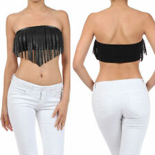 S M L Crop Top Fringe Faux Leather Black Bandeau Strapless Tube Shirt New Sexy