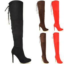 Womens Over The Knee Thigh High Sexy Stiletto Heel Biker Ladies Boots Size