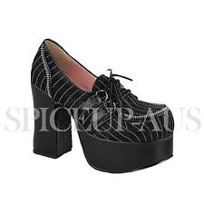 Demonia Shoes CHARADE-12 Platforms Heels Black Satin Gothic Sexy
