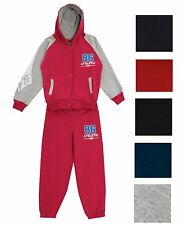 NEW GIRLS BOYS FLEECE JOGGING TRACKSUIT HOODED TOP BOTTOMS SIZE AGES 2 3 4 5 6 7