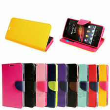 Dual Color Deluxe Wallet Flip Leather + TPU Magnetic Case Cover For Sony Xperia