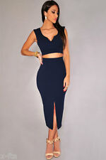 Sexy Red/Blue Front Slit Two Piece Midi Skirt Set Evening Cocktail Party Dress