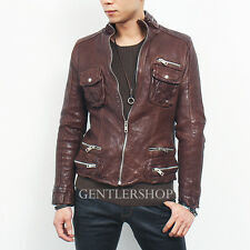 Mens Genuine Lambskin Leather Zipper Styling Slim Fit Brown Jacket, GENTLERSHOP