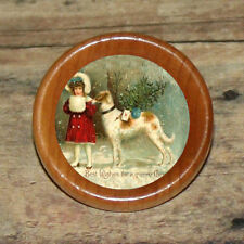 XMAS BORZOI Wolfhound dog & Little Girl Art Tie Tack or Ring or Brooch pin