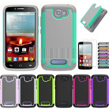 For Alcatel One Touch Pop Icon A564C Armor Hybrid Hard Impact Case Cover+Film