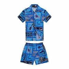 Boy Toddler Aloha Shirt Set Shorts Beach Hawaiian Cruise Luau Cotton Blue Ukulel