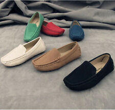 Boy's Girl's Slip On Casual Loafers Soft Round Toe Flats Genuine Suede Shoes