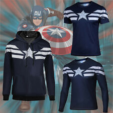 Captain America The WINTER SOLDIER Mens T-Shirts Tops Zipper Coat Hoodies Jersey