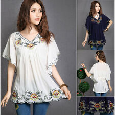 Peasant Mexican Ethnic Floral Embroidered Hippie Women Blouse Bat Sleeve Top