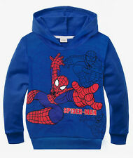 Spiderman Boys Jumper Hoodie Blue