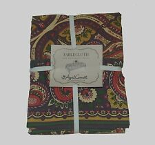April Cornell Brown Floral Paisley 100% Cotton Tablecloth NEW NWT