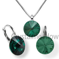 Sterling Silver Earrings Necklace Set EMERALD Rivoli Crystals from Swarovski®