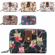 Ladies Womens Girls Canvas OWL Small Purse and Wallet Coin Bag