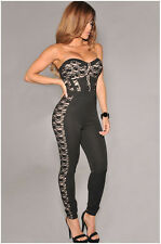 Sexy Womens Lace Off-shoulder Padd Bandeau Tube Jumpsuit Romper Elastic Bodysuit