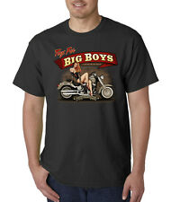 Toys For Big Boys Biker Motorcycle Vintage Classic Pin Up Ride On T-Shirt S-5XL