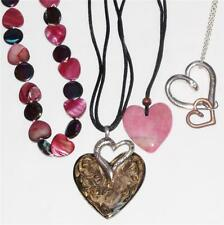 HEART PENDANTS W NECKLACES, Red/Pink Beads, Silver & Gold Double Heart