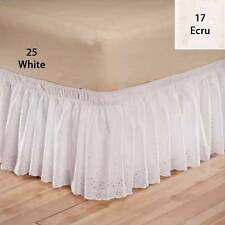 "Elasticized Eyelet Bed Ruffle 14"" Drop [No Lifting Heavy Mattress]"