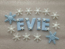 Edible fondant icing Name + 12 Snowflakes (with shimmer)- Cake Topper.