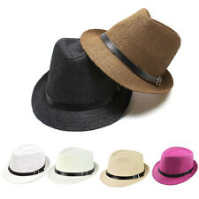 Womens Men Summer Beach Trilby Fedora Straw Cap Unisex Panama Brim Beach Sun Hat
