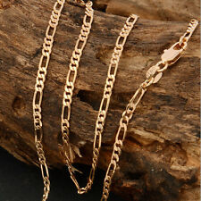 """18K Yellow Gold Plated Italy Figaro Link Chain 2mm Necklace Men's Collar 18""""-22"""""""