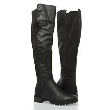 Black Round Toe Over Knee High Stretch Lycra Wide Leg Low Flat Heel Riding Boots