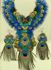 Peacock Feather Necklace/Earring Set on Deerskin! SHOW STOPPING Handmade in USA!