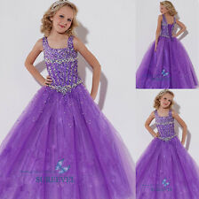 Purple Christening Princess Bridesmaid Wedding Pageant Dress Flower Girl Dresses