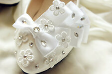 White silk bow Wedding flat ballet lace flowers Bridal shoes Bridesmaid dress