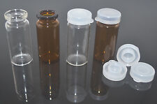 10ml 22x50mm Empty New Amber/Clear Glass Bottles Vials Jars with PP Press On Cap
