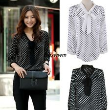 Promotion ! Women Elegant Dot Bowknot Long Sleeve Loose Chiffon Shirt Blouse