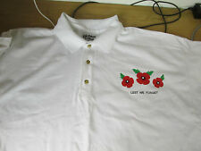 NEW MENS WOMENS LEST WE FORGET POPPY WAR REMEMBER SOLIDER WHITE XL POLO SHIRT SS