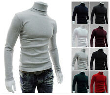 Hot Cheap Men Thermal Cotton Polo Skivvy Turtleneck Sweater Stretch Shirt
