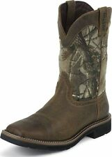Mens Justin Stampede Camo Waterproof Work Boots Pull On Square Toe Medium WK4676