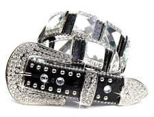 CLEAR CRYSTAL CONCHO LEATHER BLACK WESTERN BLING RHINESTONE BELT MEDIUM LARGE XL