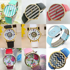 Women Vintage Analog Quartz Feather Dial Leather Band Watches Ladies Wrist Watch