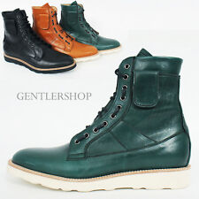Mens Shoes Fold Detail Lace up Leather Ankle Boots Handmade 4089, GENTLERSHOP