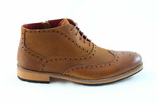 Justin Reece Mens Bruno Leather Mix Mid Brouge Boots Camel Brown Various Sizes