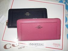 NWT Coach F52648 XGRN Leather ACCORDION ZIP Wallet $250 (Sunset Red/Midnight)