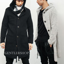 Mens Fashion Knit Button up Pocket Hooded Long Coat, GENTLERSHOP