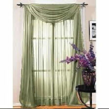 SAGE GREEN SCARF SHEER VOILE WINDOW CURTAIN DRAPES VALANCE MANY SIZES AVILABLE