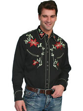 Scully Mens Embroidered Western Shirt Black Floral Perl Snap Cowboy P-633 M
