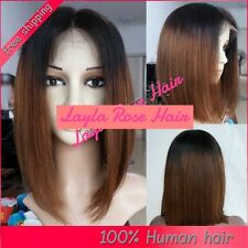 10 - 12 INCHES OMBRE BOB GLUELESS LACE FRONT WIG 100% REMY HUMAN HAIR, STRAIGHT