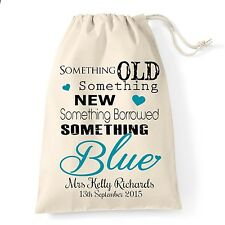 Personalised  wedding day morning  bride to be, cotton gift bag something blue.