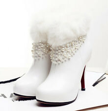 white real Rabbit fur trim ankle leather boots winter heels wedding shoe bridal