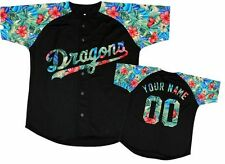 Custom Baseball Jerseys Special Design Black&Blue Floral Any size
