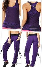 "Zumba 2Pc.SET! ZUMBA'S ""Top of the Line"" CARGO PANTS & FuNkY LONG RACERBACK S M"