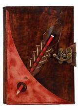 Red Pencil Holding Large Refillable Leather Journal Diary Brown Notebook Lock