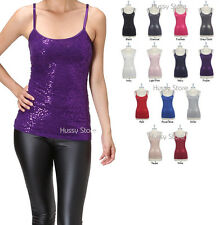 Choose Many Colors Sequin Camisole Cami Tank Top Adjustable Straps S,M, or L NEW