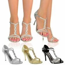 Womens Party Prom Bridal Evening Diamante High Heels Shoes Sandals