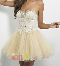 Stock Champagne Short Formal Beaded Cocktail Party Gown Prom Homecoming Dresses